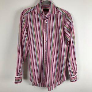 ETRO Mens Small Multicolored Striped Dress Shirt